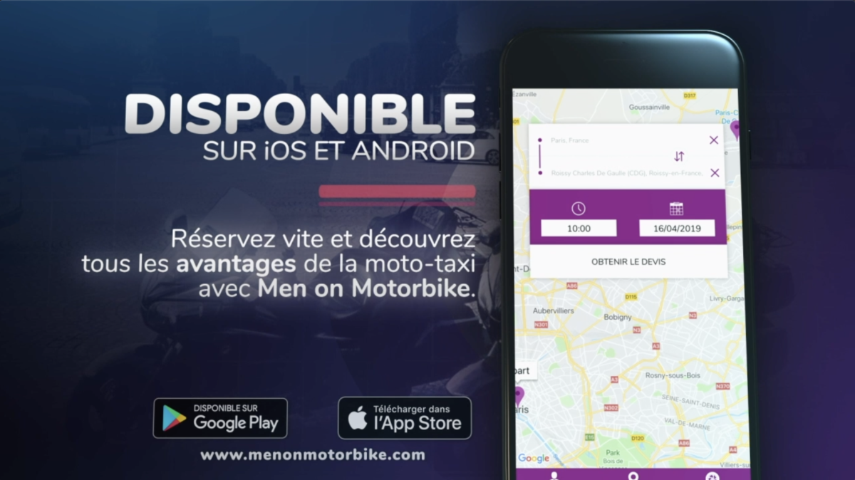 L'Application Taxi Moto Men on Motorbike est disponible sur iOS et Android